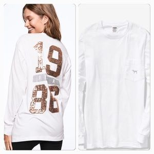 VS PINK BLING ROSE GOLD CAMPUS LONG SLEEVE TEE XS